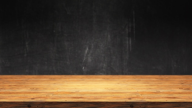 3d drewniany stół przeciw defocussed grunge tłu