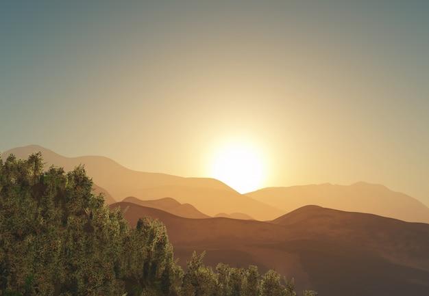 3d drzewa i górski krajobraz o wschodzie słońca