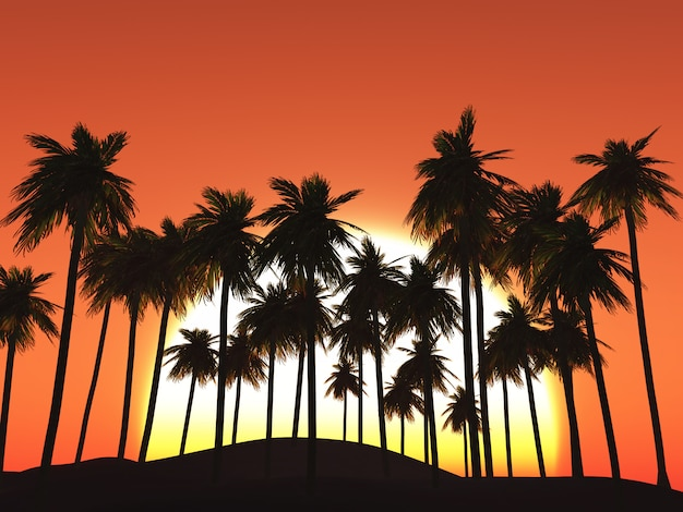 3d drzewka palmowe przeciw zmierzchu niebu