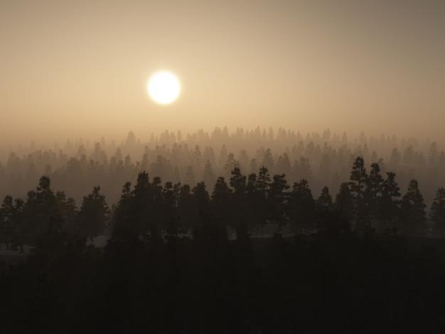 3d drzewo mglisty krajobraz