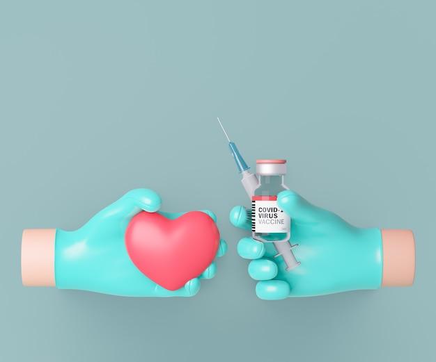 3d dwa kreskówka lekarz ręcznie z butelki szczepionki i strzykawki i czerwone serce na czystym tle. renderowanie ilustracji 3d.