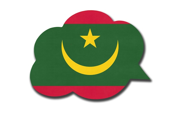 3d dymek z flagi narodowej mauretanii na białym tle. symbol kraju mauretanii. znak komunikacji na świecie.
