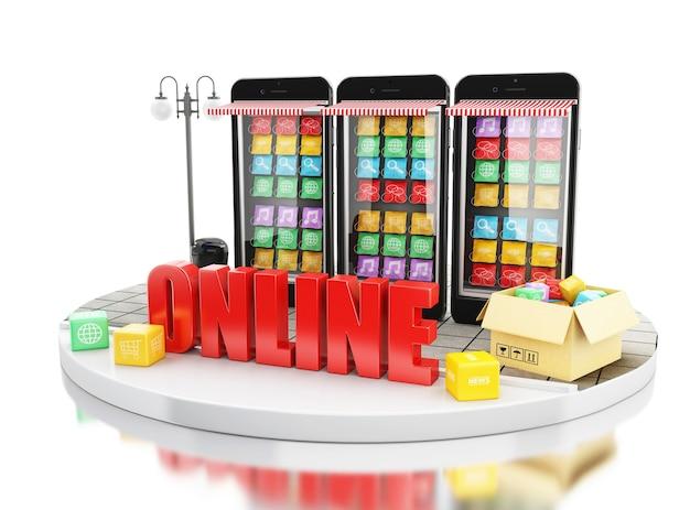 3d e-commerce, smartfon ze sklepami z aplikacjami mobilnymi.