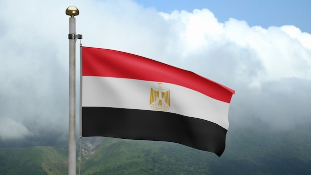 3d, egipska flaga na wietrze w górach. egipt transparent dmuchanie gładkiego jedwabiu. tkanina tkanina tekstura tło chorąży. użyj go do koncepcji świąt narodowych i okazji krajowych.