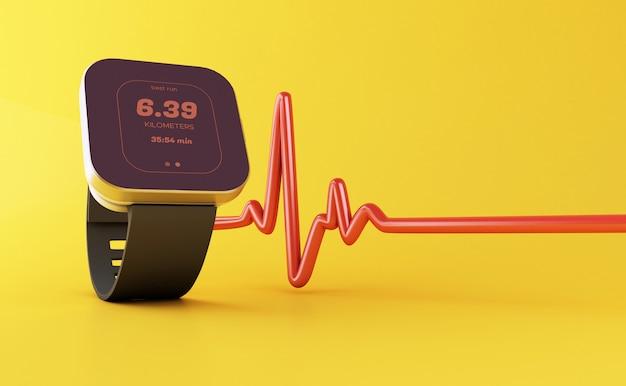 3d elegancki zegarek z ikoną aplikacji zdrowia