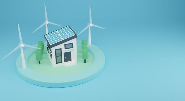 3d energii odnawialnej illustration.renewable energii z domu systemu elektrycznego. renderowanie 3d