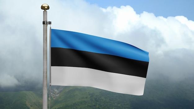 3d, estońska flaga macha na wietrze w górach. estonia transparent dmuchanie gładkiego jedwabiu. tkanina tkanina tekstura tło chorąży. użyj go do koncepcji świąt narodowych i okazji krajowych.