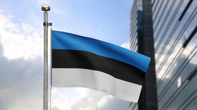 3d, estońska flaga macha na wietrze z nowoczesnym wieżowcem miasta. baner estonii dmuchający miękki jedwab. tkanina tkanina tekstura tło chorąży. użyj go do koncepcji świąt narodowych i okazji krajowych.