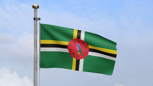 3d, flaga dominikany macha na wietrze z błękitne niebo i chmury. baner dominika dmuchany, miękki i gładki jedwab. tkanina tkanina tekstura tło chorąży. użyj go do koncepcji świąt narodowych i okazji krajowych