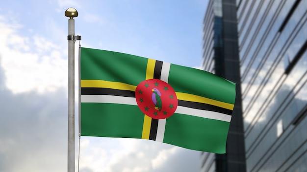 3d, flaga dominikany macha na wietrze z nowoczesnym wieżowcem miasta. baner dominika dmuchany, miękki i gładki jedwab. tkanina tkanina tekstura tło chorąży. koncepcja narodowego dnia i okazji krajowych.