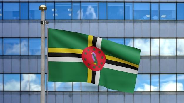 3d, flaga dominikany macha na wietrze z nowoczesnym wieżowcem miasta. zbliżenie na baner dominika dmuchanie, miękki i gładki jedwab. tkanina tkanina tekstura tło chorąży.