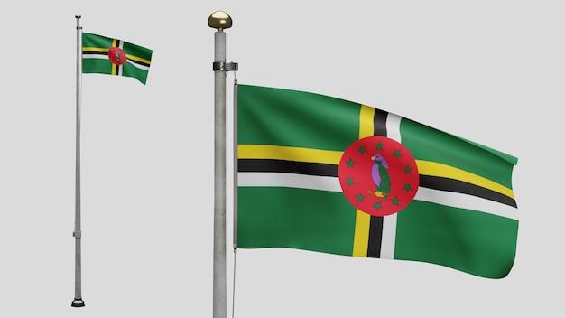 3d, flaga dominikany macha na wietrze. zbliżenie na baner dominika dmuchanie, miękki i gładki jedwab. tkanina tkanina tekstura tło chorąży. użyj go do koncepcji świąt narodowych i okazji krajowych.
