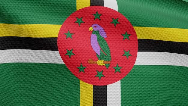 3d, flaga dominikany macha na wietrze. zbliżenie na baner dominika dmuchanie, miękki i gładki jedwab. tkanina tkanina tekstura tło chorąży.