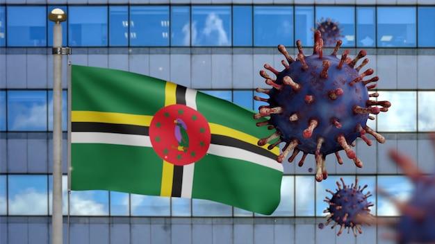 3d, flaga dominikany powiewająca z nowoczesnym wieżowcem i epidemia koronawirusa jako niebezpieczna grypa. wirus grypy typu covid 19 z narodowym banerem dominiki wiejącym w tle