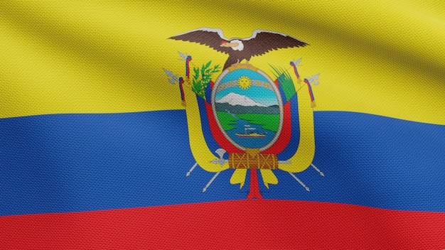 3d, flaga ekwadoru na wietrze. bliska baner ekwador dmuchanie, miękki i gładki jedwab. tkanina tkanina tekstura tło chorąży. użyj go do koncepcji świąt narodowych i okazji krajowych.