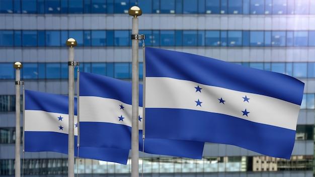 3d, flaga hondurasu macha na wietrze z nowoczesnym wieżowcem miasta. zbliżenie na sztandar hondurasu dmuchanie gładkiego jedwabiu. tkanina tkanina tekstura tło chorąży. koncepcja narodowego dnia i okazji krajowych.