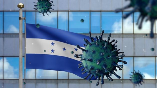 3d, flaga hondurasu macha z nowoczesnym wieżowcem i koncepcją ncov koronawirusa 2019. azjatycka epidemia w hondurasie, koronawirusy grypy jako niebezpieczne przypadki szczepu grypy jako pandemia. wirus covid19