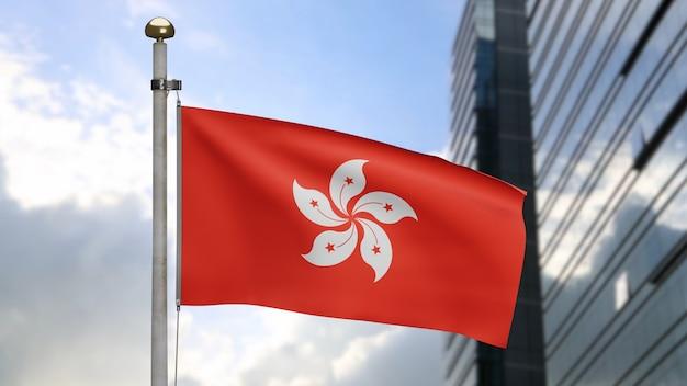 3d, flaga hongkongu macha na wietrze z nowoczesnym wieżowcem miasta. dmuchany baner hong kong, miękki i gładki jedwab. tkanina tkanina tekstura tło chorąży. koncepcja narodowego dnia i okazji krajowych.