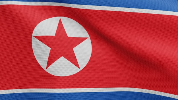 3d, flaga korei północnej na wietrze. zamknij się z koreańskim banerem dmuchanie, miękki i gładki jedwab. tkanina tkanina tekstura tło chorąży. użyj go do koncepcji świąt narodowych i okazji krajowych.