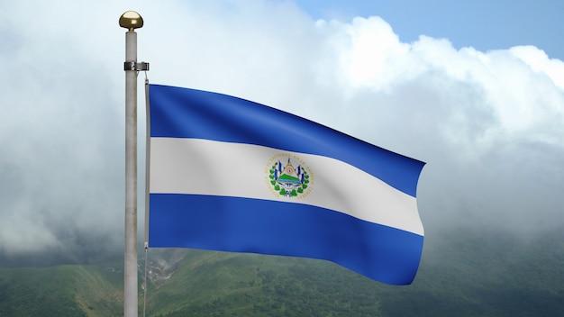 3d, flaga salwadoru macha na wietrze w górach. salvador transparent dmuchanie gładkiego jedwabiu. tkanina tkanina tekstura tło chorąży. użyj go do koncepcji świąt narodowych i okazji krajowych.