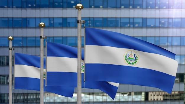 3d, flaga salwadoru macha na wietrze z nowoczesnym wieżowcem miasta. salvador transparent dmuchanie gładkiego jedwabiu. tkanina tkanina tekstura tło chorąży. użyj go do koncepcji świąt narodowych i okazji krajowych.