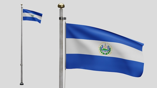 3d, flaga salwadoru macha na wietrze. zbliżenie na transparent salvador dmuchanie, miękki i gładki jedwab. tkanina tkanina tekstura tło chorąży. użyj go do koncepcji świąt narodowych i okazji krajowych.