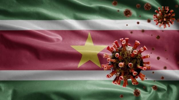 3d, flaga surinamu machająca z wybuchem koronawirusa infekującym układ oddechowy jako groźną grypą. wirus grypy typu covid 19 z krajowym szablonem surinamu wiejący w tle