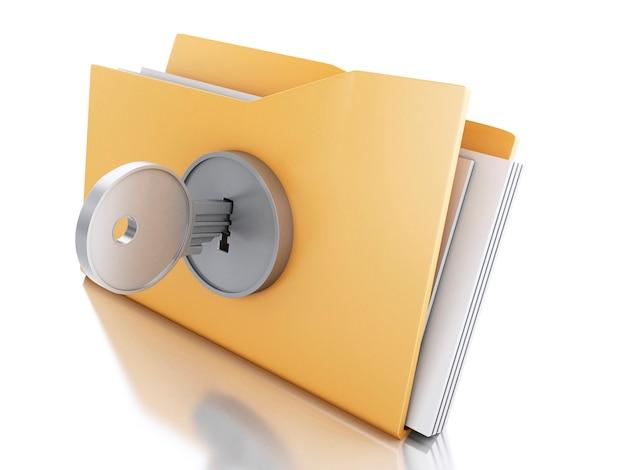 3d folder zablokowany za pomocą klucza. pojęcie bezpieczeństwa.