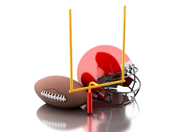 3d futbol amerykański hełm, futbolowy cel i piłka.