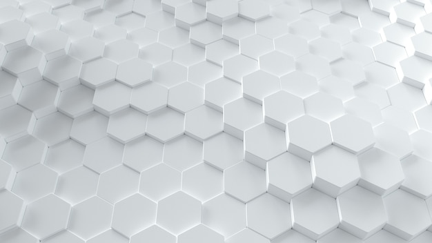 3d geometryczne abstrakcyjne sześciokątne białe tło