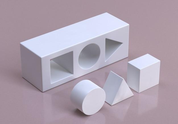 3d geometryczne kształty strategii kostki i koncepcja rozwiązania biznesowego koncepcyjny render 3d