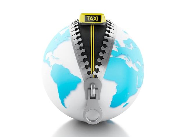 3d globe z zamkiem błyskawicznym otwarte i taksówką znak