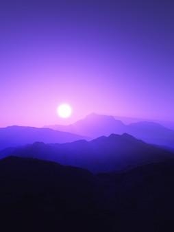 3d górski krajobraz o zachodzie słońca