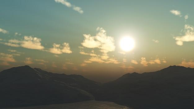 3d górski krajobraz