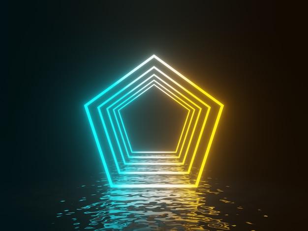 3d gradientowa świecąca neonowa ramka