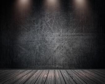 3D grunge wnętrze pokoju z reflektorów świeci w dół