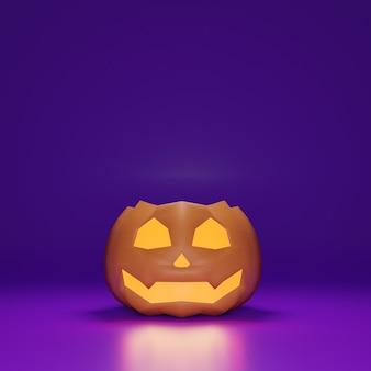 3d halloween dyniowy uśmiech na fioletowym tle