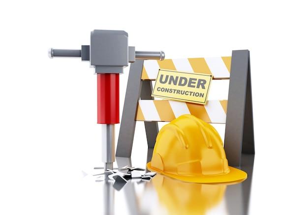 3d hełm z jackhammer i pod znakiem budowy.