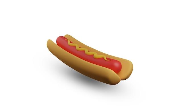 3d hotdog ilustracja projekt na białym tle