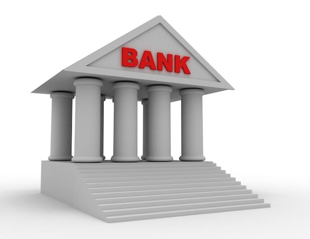 3d ikona banku. ilustracja na białym tle