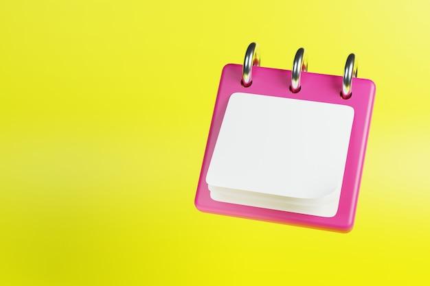 3d ikona kalendarza na żółtym tle renderowania 3d