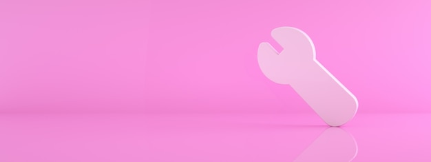3d ikona klucza na różowym tle, renderowanie 3d, panoramiczny obraz makiety