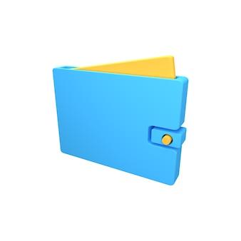 3d ikona portfela. ilustracja na białym tle portfel 3d.