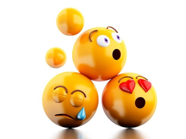 3d ikony emoji z wyrazami twarzy.