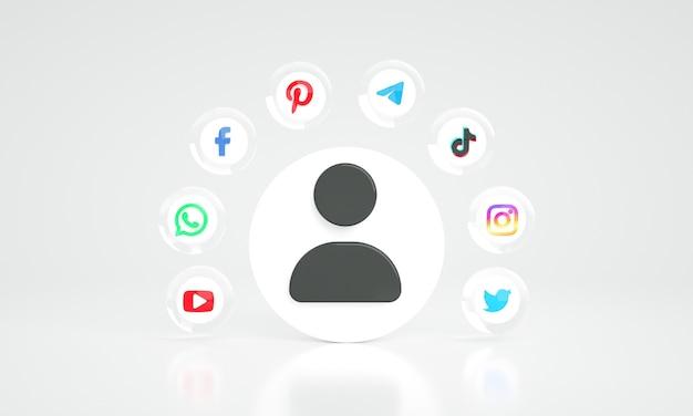 3d ikony marketingu w mediach społecznościowych z ikoną użytkownika premium zdjęcie