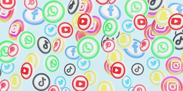 3d ikony mediów społecznościowych w tle