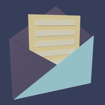 3d ikony płaska litera na niebieskim tle