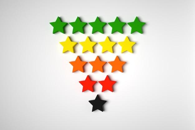 3d illustration 5 różnokolorowych gwiazd stoi w rzędach, których liczba stopniowo maleje.