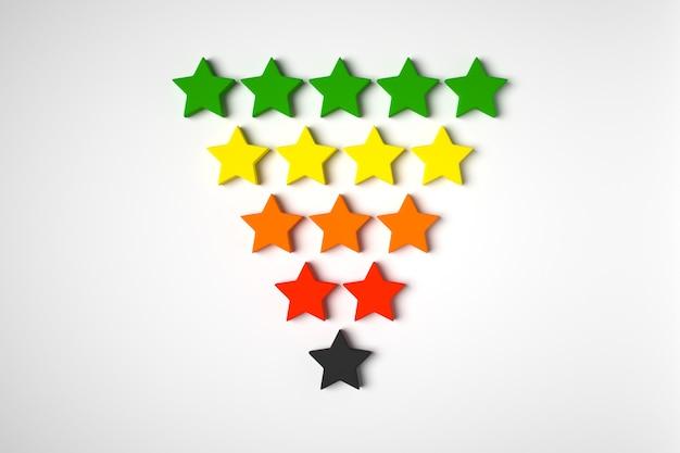 3d illustration 5 różnokolorowych gwiazd stoi w rzędach, których liczba stopniowo maleje