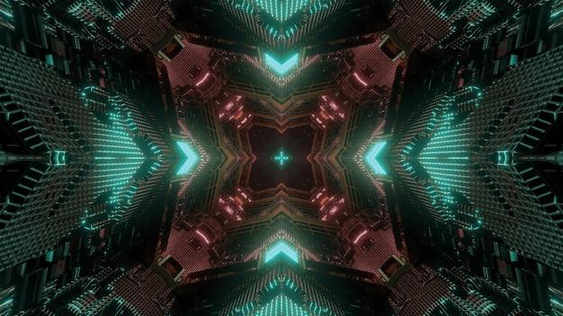 3d illustration abstrakcyjne tło sci fi wewnątrz oświetlonego tunelu z czerwonym i zielonym neonowym oświetleniem geometrycznym